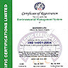 Сертификат за регистрация по ISO 14001:2004 на английски